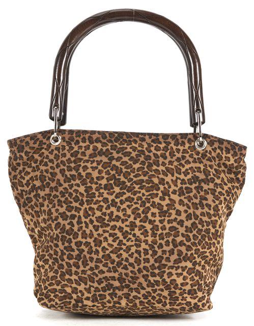 BOTTEGA VENETA Brown Leopard Print Nylon Bamboo Handle Shoulder Bag