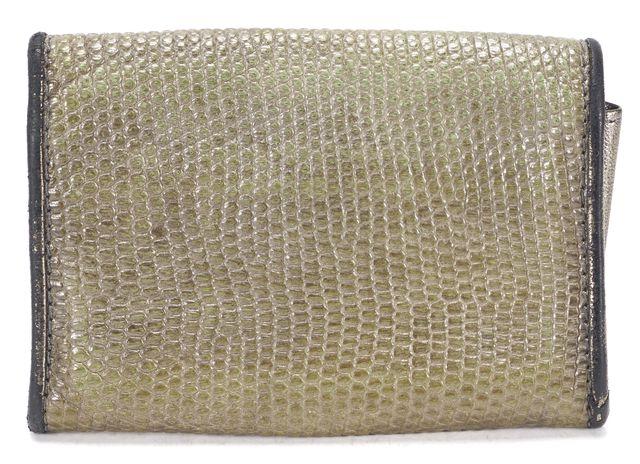 BOTTEGA VENETA Brown Green Lizard Embossed Leather Card Case