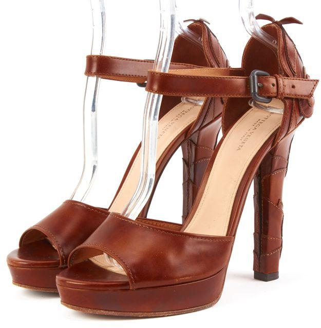 BOTTEGA VENETA Brown Leather Ankle Strap Sandals Platform Heels