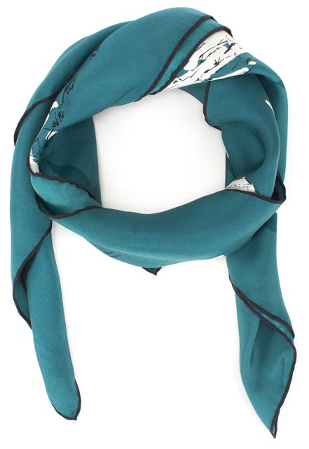 BURBERRY PRORSUM Silk Teal Green York Landmarks Printed Scarf