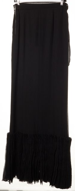 BURBERRY PRORSUM Black Silk Semi Pleated Maxi Skirt