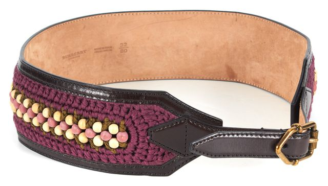 BURBERRY PRORSUM Brown Purple Woven Bead Embellished Leather Wide Belt