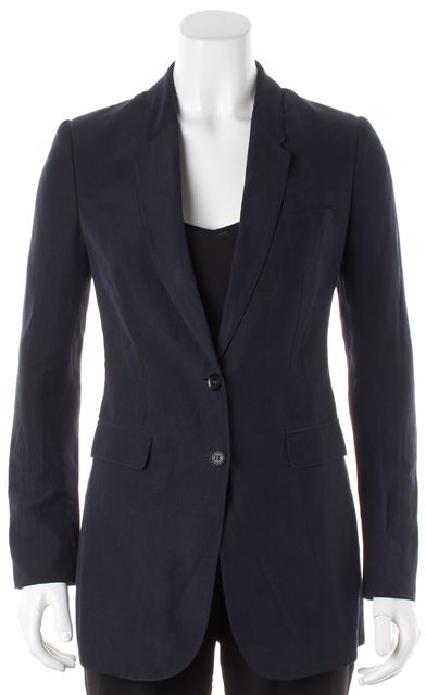 BURBERRY PRORSUM Navy Blue Linen Silver Two-Button Blazer Jacket