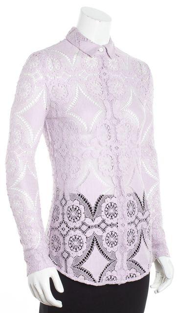 BURBERRY PRORSUM BURBERRY Purple Lavender Lace Button Down Shirt Blouse