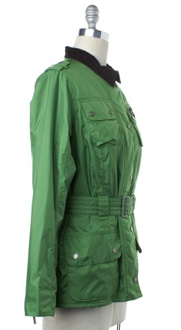 BARBOUR Green Brown Corduroy Collar Puffer Jacket