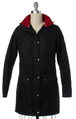 BARBOUR Black Kirkby Quilt Hooded Jacket Size 8 UK 10