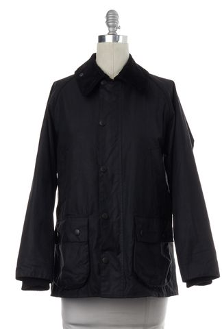 BARBOUR Black Waxed Cotton Zip Snap Button Up Bedale Jacket