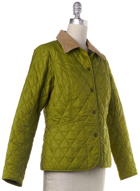 BARBOUR Green Beige Corduroy Collar Quilted Pantone Collection Jacket