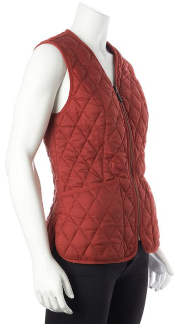 BARBOUR Terra Cotta Red Orange Zip-Front Quilted Casual Vest Outerwear