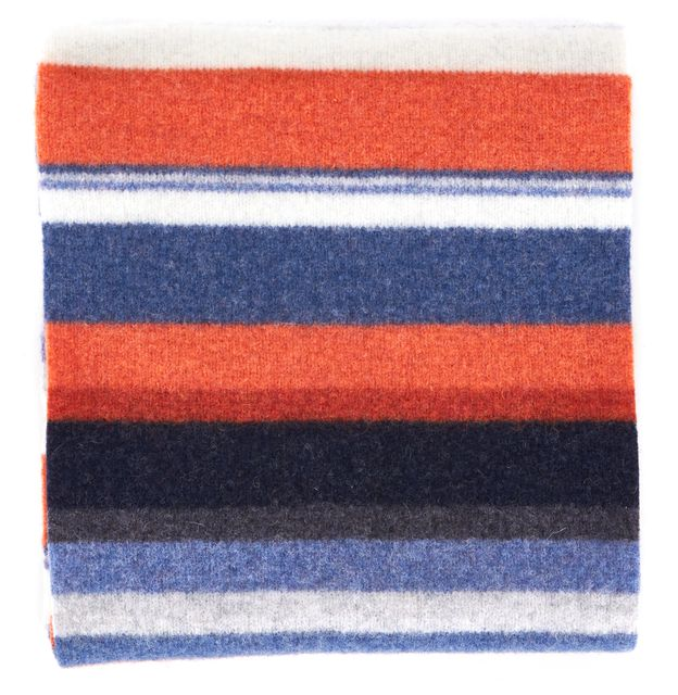 BARBOUR Orange Blue Briggs Striped Wool Knit Arctic Scarf