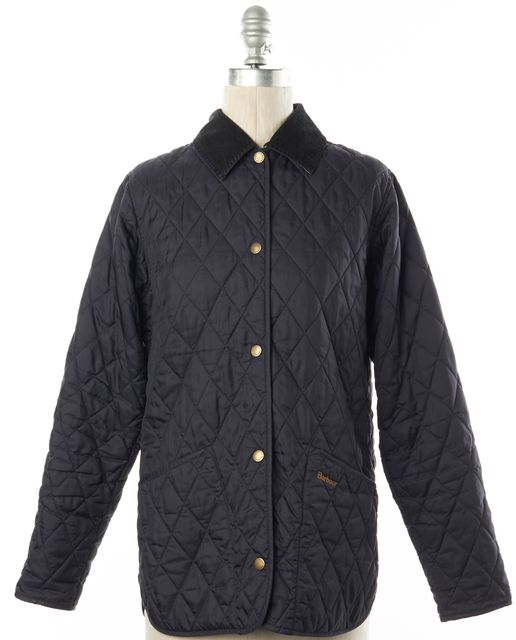BARBOUR Navy Blue Quilted Snap Front Basic Jacket
