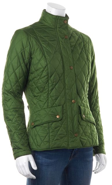 BARBOUR Green Quilted Casual Zip Front Basic Light-Weight Jacket