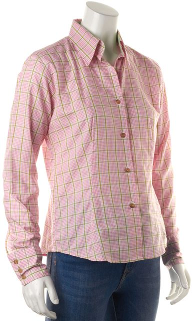 BARBOUR Pink Green Gingham Plaid Long Sleeve Button Down Shirt