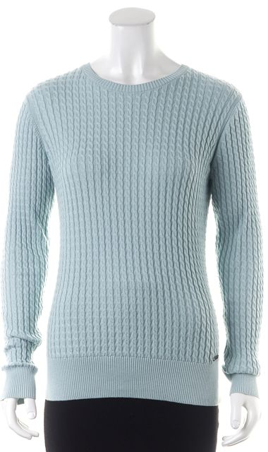 BARBOUR Blue Pima Cotton Cable Knit Long Sleeve Crewneck Sweater