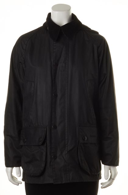BARBOUR Black Waxed Cotton Bedale Hooded Jacket