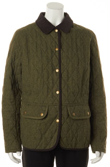BARBOUR Green Quilted Herringbone Snap Front Basic Jacket