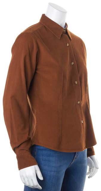 BARBOUR Brown Cotton Corduroy Long Sleeve Button Down Shirt