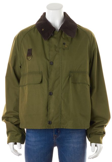 BARBOUR Olive Green Canvas Brown Corduroy Collar Jacket