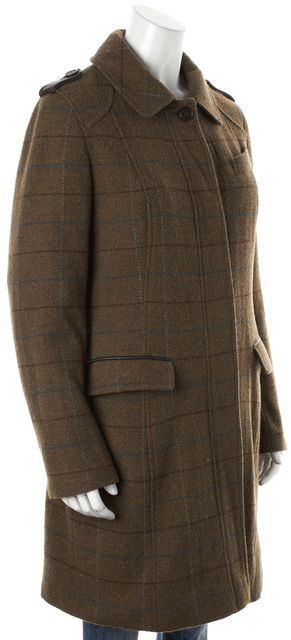 BARBOUR Brown Green Red Plaid Wool Leather Trim Ridorch Coat