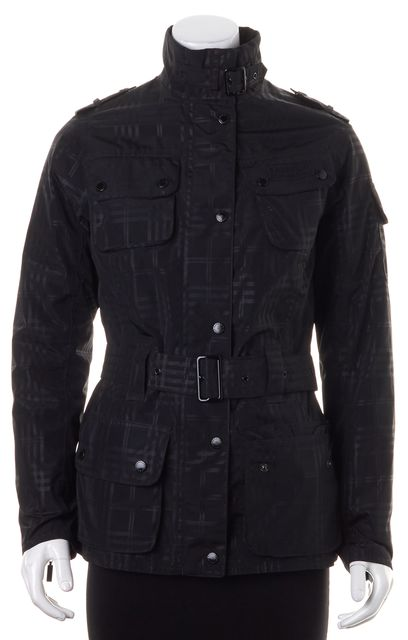 BARBOUR Black Waterproof Plaid Quilted Lining Belted Rain Coat Jacket