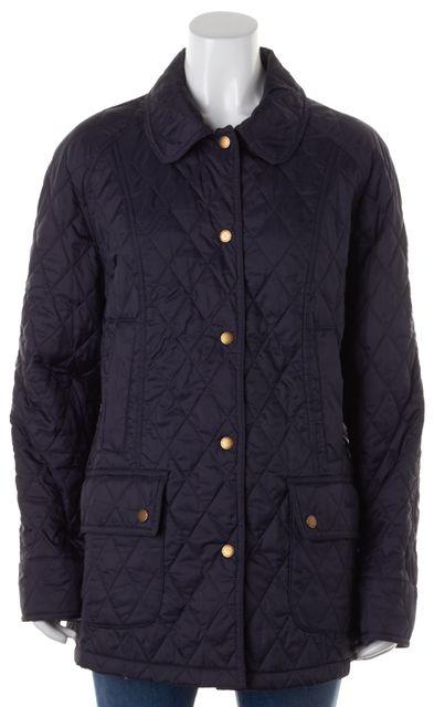 BARBOUR Dark Navy Blue Summer Beadnell Button Down Quilt Jacket