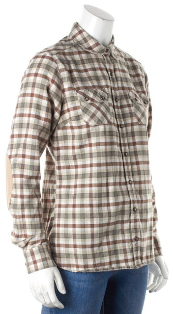 BARBOUR Brown Green Plaid Button Down Shirt Top