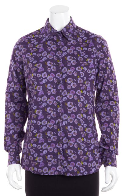 BARBOUR Purple Floral Button Down Long Sleeve Shirt Blouse