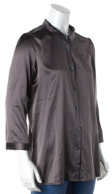 BURBERRY BODY Gray Mulberry Silk Satin Button Down Blouse