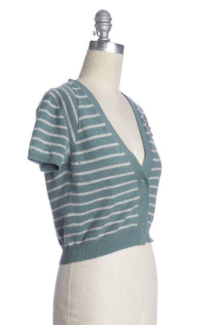 BRUNELLO CUCINELLI Green Gray Striped Cashmere Cardigan
