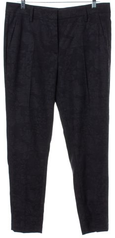 BRUNELLO CUCINELLI Dark Gray Floral Pattern Wool Casual Pants