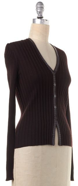 BRUNELLO CUCINELLI Brown Embellished Ribbed Cashmere Cardigan
