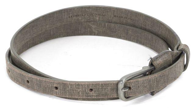 BRUNELLO CUCINELLI Gray Textured Leather Belt