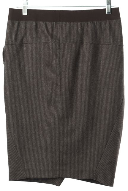 BRUNELLO CUCINELLI Brown Striped Wool Pocket Front Wrap Style Skirt