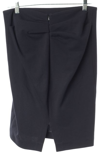 BRUNELLO CUCINELLI Navy Blue Gathered Back Slit Straight Skirt