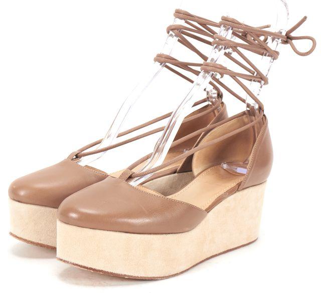 BRUNELLO CUCINELLI Tan Leather Suede Platform Ankle Wrap Wedges
