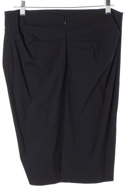 BRUNELLO CUCINELLI Navy Blue Cotton Gathered Waist Pencil Skirt