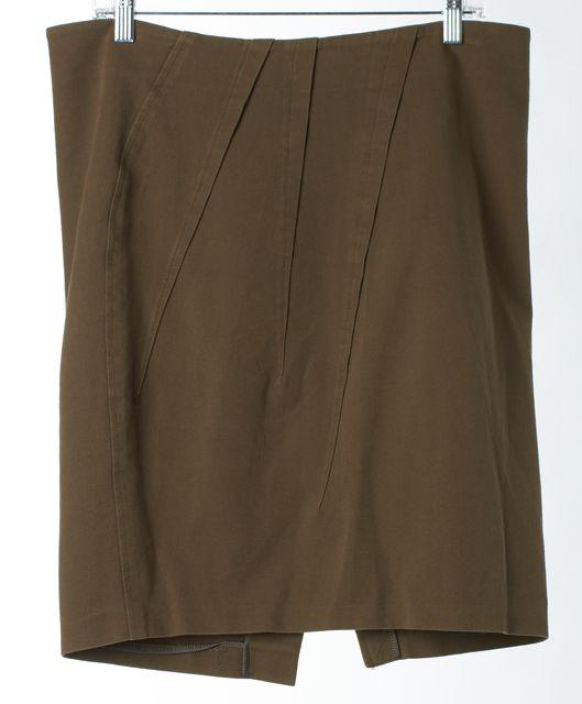 BRUNELLO CUCINELLI Olive Green Stretch Cotton Straight Skirt