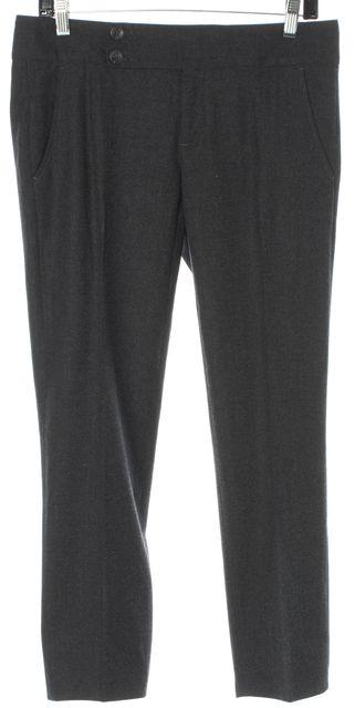 BRUNELLO CUCINELLI Charcoal Gray Virgin Wool Slim Trousers Pants