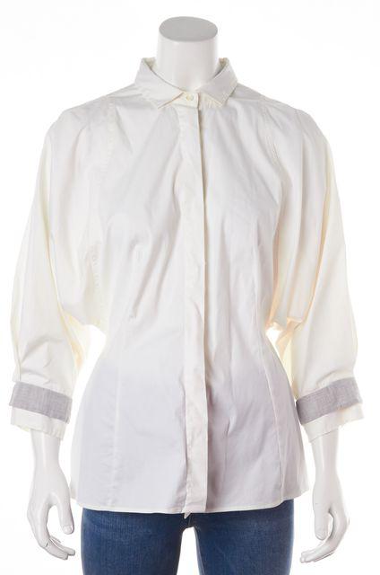 BRUNELLO CUCINELLI White Gray Stretch Cotton Dolman Button Down Shirt
