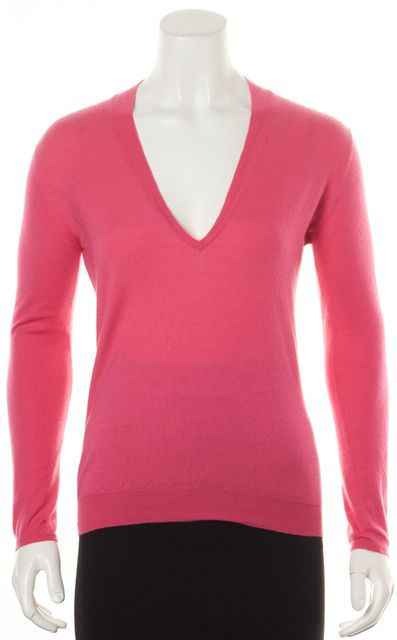 BRUNELLO CUCINELLI Hot Pink Long Sleeve V-Neck Sweater