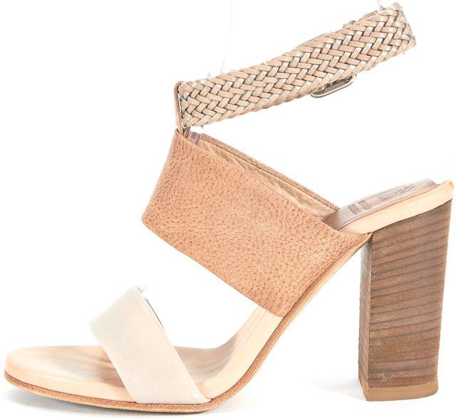 BRUNELLO CUCINELLI Beige Gray Leather Braided Ankle Strap Sandal Heels