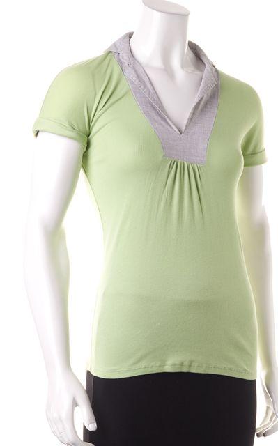 BRUNELLO CUCINELLI Green Gray Polo Shirt Top