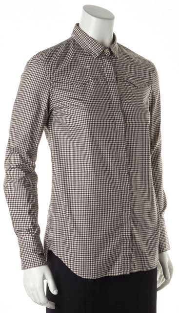BRUNELLO CUCINELLI Brown White Gingham Cotton Button Down Shirt
