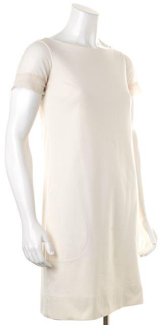 BRUNELLO CUCINELLI White Mesh Short Sleeve Above Knee Shift Dress