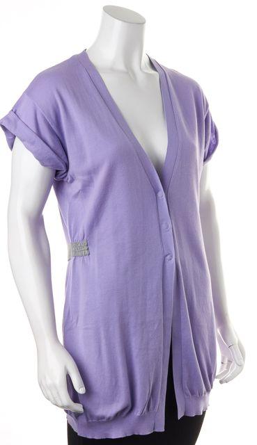 BRUNELLO CUCINELLI Purple Short Sleeve Cardigan