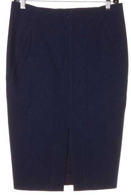 BRUNELLO CUCINELLI Navy Blue Stretch Cotton Pencil Skirt