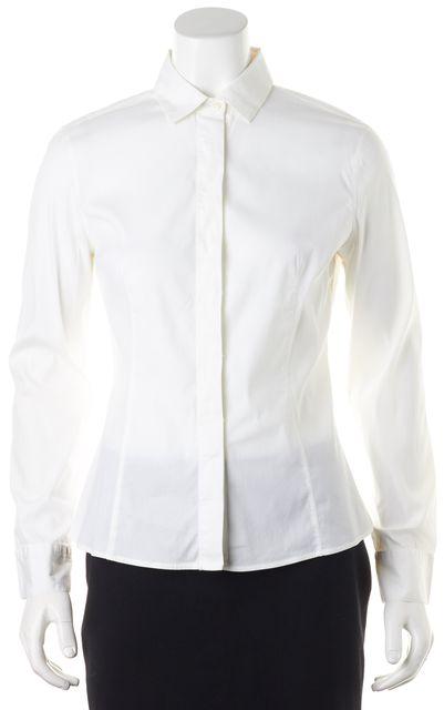 BRUNELLO CUCINELLI White Stretch Cotton Button Down Shirt Blouse