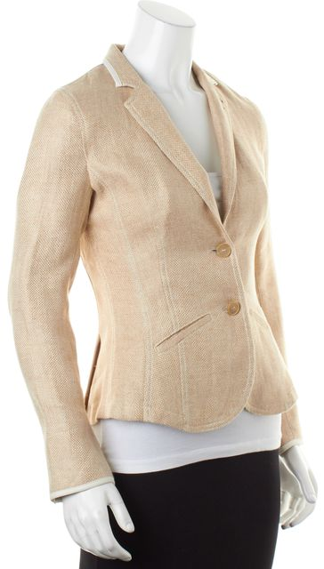 BRUNELLO CUCINELLI Beige Woven Linen Two-Button Blazer Jacket