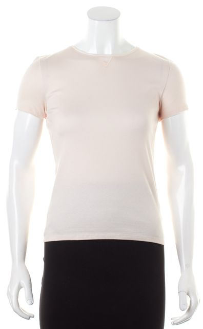 BRUNELLO CUCINELLI Pink Cotton Ribbed Knit Linen Trim Short Sleeve Top
