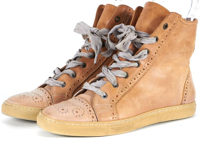 BRUNELLO CUCINELLI Beige Wing Tip Distressed Leather Lace-Up Sneakers